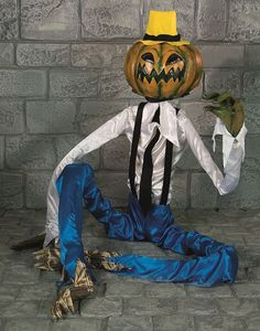 This Sitting Scarecrow Decoration will be the center of attention at any Halloween Event this year.