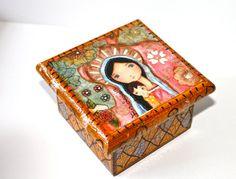 Virgen de las flores - arte popular caja Original mixta de joyería hecha a mano por FLOR LARIOS