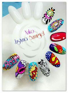 Comic nail art Funky Nail Art, Funky Nails, Cute Nail Art, Dope Nails, Comic Nail Art, Superhero Nails, Marvel Nails, Graffiti Nails, Pop Art Nails