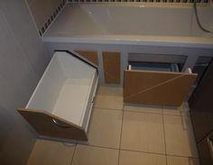Rangement gain de place sous baignoire DIY salle de bain,Rangement,DIY,gain de place,baignoire