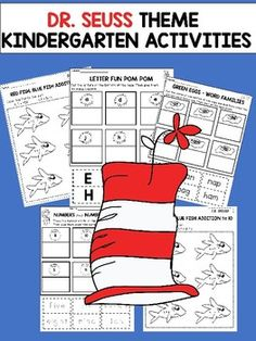 Dr. Seuss Inspired Kindergarten Activities :This product contains FUN and ENGAGING worksheets with a Dr. Seuss theme designed to be used with kindergarten students.Activities included:* Red Fish, Blue Fish Addition to 5* Letter Fun Pom Pom (cut and paste)*  Green Eggs Word Families ( cut and  paste)* Numbers and Number Words ( cut and paste)Happy teaching!Christian Learning Center