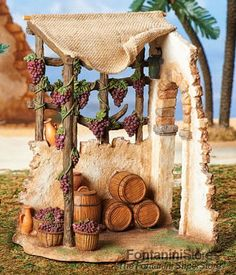 Inch Scale Wine Make Shop, Fontanini Christmas Village Display, Christmas Nativity Scene, Christmas Scenes, Christmas Art, Nativity Scenes, Christmas Bells, Mini Fairy Garden, Fairy Garden Houses, Fairy Gardens