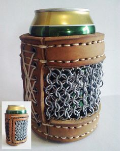 Beer Armor: Protect Your Brew with a Leather and Chainmail BeerKoozie