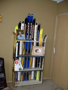 Bookshelf made from old skis
