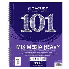 """Fundamental Pads from Cachet!  -Cachet Pads 101  Based on the """"101"""" introductory concept of college foundational classes, Cachet's 101 new pads are designed specifically for students and beginning artists, providing quality paper at an outstanding value. Spiral bound pads are micro-perforated. Acid-free.  Features:101 Sketch: 50lb., student quality paper (med. tooth)101 Drawing 70lb., Artist quality paper (med. tooth)101 Bristol: 135lb., Artist quality paper (vellum surface)101…"""