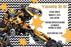 Transformers printable birthday party invitation Editable PDF
