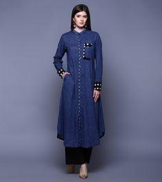 Blue & Black Cotton Ikat Tunic With Pants #ethnicwear #kurtipants #cotton #ikat #summer #indianroots