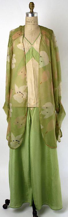 Lounging pajamas Date: 1930–32 Culture: American Medium: synthetics, silk. Front