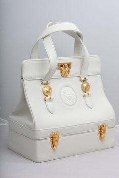 f1a38877632b Extremely rare vintage Gianni Versace white bag with gold hardware. Italy  Chanel Handbags