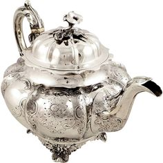 ANTIQUE VICTORIAN STERLING SILVER TEAPOT -LONDON 1847 - 762g HAYNE & CATER