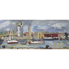 "Barcelona Art Market ""Barcelona port & clock IV""  Technique: OIL on paper Artist: BENJAMÍ TOUS Size of set: 46 x 113,5 cm / 18.1 x 44.7 inches #painting"