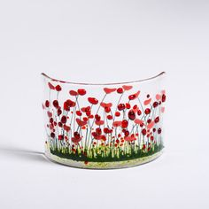 Handmade Fused Glass Poppy Curve by PamPetersDesigns on Etsy