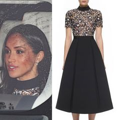 #meghanmarkle is wearing the Self-Portrait 'Nightshade' dress for her first pre-Christmas luncheon with the extended royal family at Buckingham Palace!