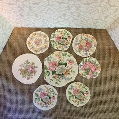 Vintage Broken China Focal Mosaic Tiles Lot of 8 by thecottageroom on Etsy