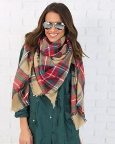Plaid Blanket Scarf - Red/Beige