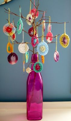 """Oh Crochet Tree, Oh Crochet Tree …""  Clare from ClaresCraftroom has come up with this crafty DIY Christmas Tree.    A bottle. A stick. Some yarn. Sick Crochet Skills. Priceless.  Cute idea right?"