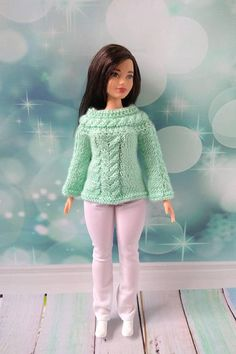 Curvy Barbie doll clothes. Hand-knitted green sweater  and white pants for Barbie girl #barbie #barbieclothes #barbiedoll #curvybarbie