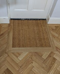 Integrated door mat framed within a parquet engineered oak floor. Fitted by Fin Wood Oak Parquet Flooring, Hall Flooring, Wide Plank Flooring, Engineered Hardwood Flooring, Porch Flooring, Stairs Cladding, Installing Hardwood Floors, Real Wood Floors, Hallway Designs