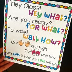 Getting students to line up and walk quietly down the halls can be challenging. Use this chant to prepare students for the halls. Classroom Chants, Preschool Classroom, Future Classroom, Classroom Activities, Classroom Organization, Classroom Ideas, Kindergarten Classroom Layout, Classroom Routines, Classroom Tools