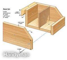 Basic bin, Garage Shelving Plans: Hardware Organizer - get the #DIY #plans: http://www.familyhandyman.com/workshop/storage/garage-shelving-plans-hardware-organizer/view-all