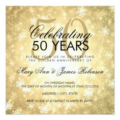 50th Wedding Anniversary Winter Wonderland Gold Card - winter wedding cyo marriage wedding party gift idea
