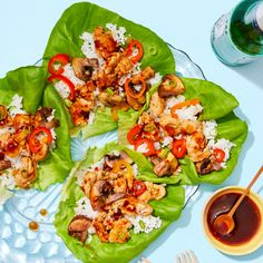 Recipe: Chrissy Teigen's Sweet & Spicy Chicken Lettuce Cups with Peppers & Jasmine Rice - Blue Apron Chefs, Chicken Hoisin Sauce, Chrissy Teigen Recipes, Jasmine Rice Recipes, Chicken Lettuce Cups, Chicken Rice, Sweet And Spicy Chicken, Clean Eating, Sweet Chili
