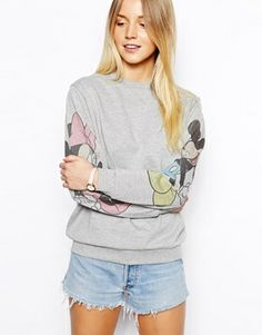 ASOS PETITE Sweatshirt with Mickey and Minnie Sleeves