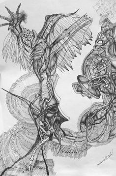 Indiana Castillo. La señora Alzheimer con pájaro en la cabeza. Tinta china/papel, 21 x 29.7 cm. $1,450 mx