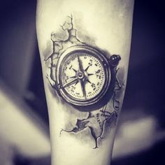 ▷ inspiring ideas and pictures about Compass Tattoo! - this is an idea for a compass tattoo on hand a map of the world and a small black compass - 3d Tattoos For Men, Black Ink Tattoos, Trendy Tattoos, Cool Tattoos, Compass Tattoos For Men, Map Tattoos, Body Art Tattoos, Sleeve Tattoos, Tattoo Arm