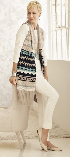 Long sweater vest artfully crafted with a reversed Navajo-inspired design that creates soft, sumptuous textures.