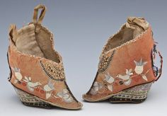 Pair Chinese Embroidered Lotus Bud Slippers :