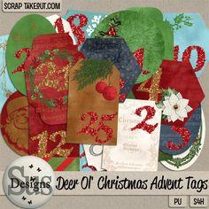 Deer Ol Christmas Advent Tags