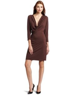 Bobi Women`s Dolman Sleeve Cowl Neck Dress $26.93