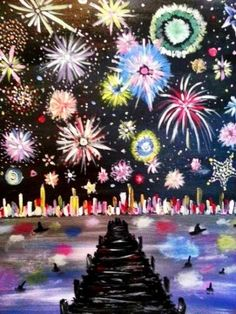Join us for a Paint Nite event Mon Dec 2014 at 217 Central Park Avenue Virginia Beach, VA. Purchase your tickets online to reserve a fun night out! Fireworks Art, How To Draw Fireworks, Firework Painting, Winter Art Projects, 3rd Grade Art, Ecole Art, Nouvel An, Art For Kids, Kid Art
