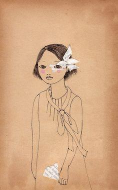 Fille avec une impression papier petit Fan de par IrenaSophia