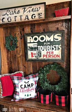 Camp Christmas, Holiday Decor, Christmas Decor, Plaid Decor, Guest House, Guest Room, Log Cabin, Cottage, Cabin, Cottage Decor, Cabin Decor, Lake House