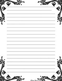Free Printable Stationery Templates Deco corner lined stationery                                                                                                                                                                                 More