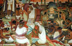 Mural by Diego Rivera showing the life in Aztec times e. the art of paper production. Diego Rivera Art, Diego Rivera Frida Kahlo, Wall Drawing, Mexican Art, Mural Painting, Museum Of Modern Art, Types Of Art, Painting Inspiration, Artwork