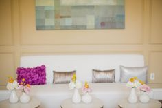 Lounge area at bright and colorful pink, orange, yellow and gray weddding at Burlington Golf and Country Club | Planning and Design by www.kjandco.ca | Photography by Elizabeth In Love Read more - http://www.stylemepretty.com/2013/09/04/burlington-ontario-wedding-from-kj-co-beth-ty-in-love/