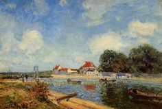 Loing Dam at Saint Mammes by Alfred Sisley Size: 38x55 cm Medium: oil on canvas
