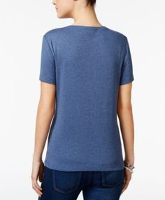 Karen Scott Petite Cotton Henley T-Shirt, Only at Macy's - Black P/L