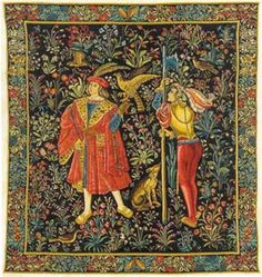 The Falconer Tapestry - Medieval Tapestries - This is one panel from a seven part series representing seigniorial life in the middle ages. The Medieval Falconer Tapestry is from an era of romance and myth that are a delight and historically fun to tell the tales from those long ago days. A handsome look for the walls.