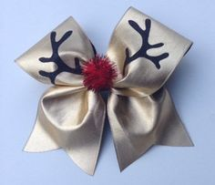 Ruldoulph the Reindeer cheer bow by DistinctlyExpressive on Etsy, $14.00