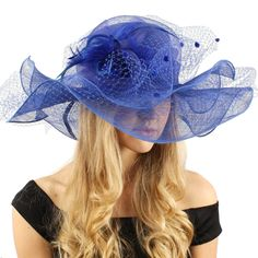 "Flirty Netted Overlay Simamay Feathers Derby Floppy 6"" Wide Brim Dress Hat Blue at Amazon Women's Clothing store:"