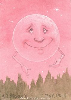 Pink Moon Dream Print Illustration by brownieman on Etsy, $4.50