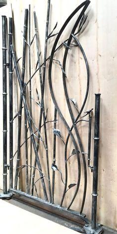 Bamboo Garden Gate by SculpturalAccents on Etsy Wrought Iron Garden Gates, Metal Gates, Iron Gate Design, Structure Metal, Iron Art, Welding Art, Metal Crafts, Blacksmithing, Metal Working