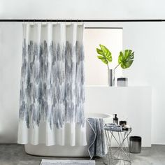 Shower Curtains You'll Love in 2020 | Wayfair Ombre Shower Curtain, Bathroom Shower Curtains, All White Bathroom, Small Bathroom, White Shower, Classic Elegance, Bars For Home, All Modern, Contemporary Design