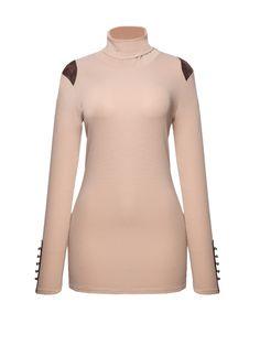 turtleneck decorative button patchwork long sleeve t-shirt