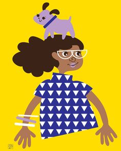 Willa Walkandroll, Children's Art Print, (Dog and African American Girl Illustration)