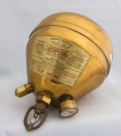 Chlorobromethane Automatic Fire Extinguisher (1940's) Vintage Stuff, Vintage Items, Automatic Fire Extinguisher, Fire Sprinkler System, Sprinkler Heads, Fire Apparatus, Fire Safety, Fire Engine, Firefighters